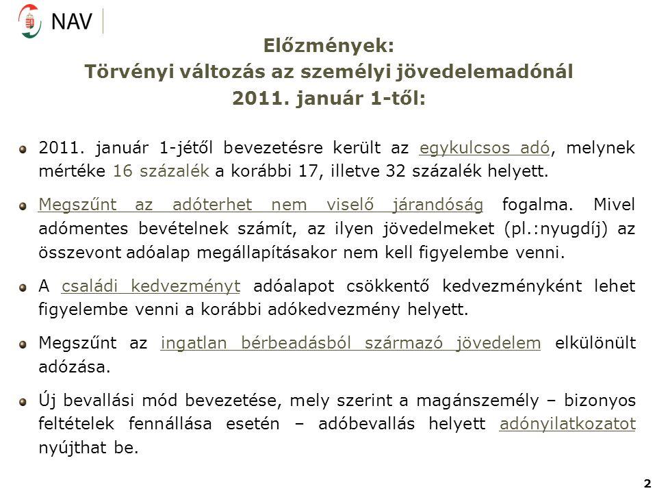 Előzmények: Törvényi változás az személyi jövedelemadónál 2011. január 1-től: 2011. január 1-jétől bevezetésre került az egykulcsos adó, melynek mérté