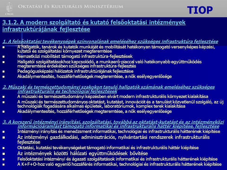 3.1.2. A modern szolgáltató és kutató felsőoktatási intézmények infrastruktúrájának fejlesztése 1.