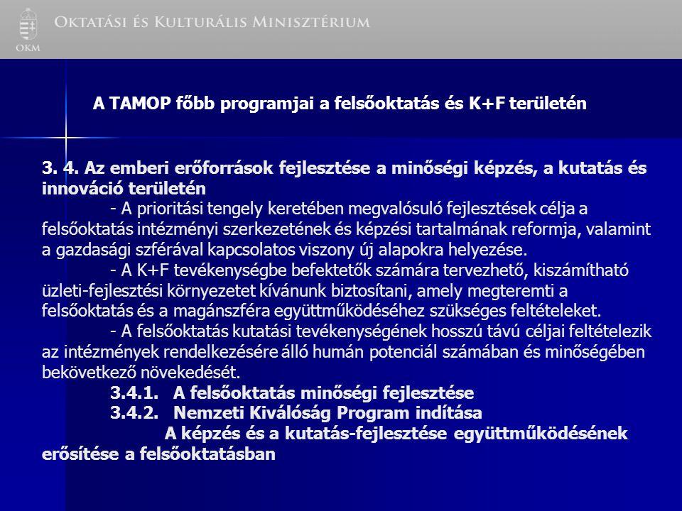 A TAMOP főbb programjai a felsőoktatás és K+F területén 3.
