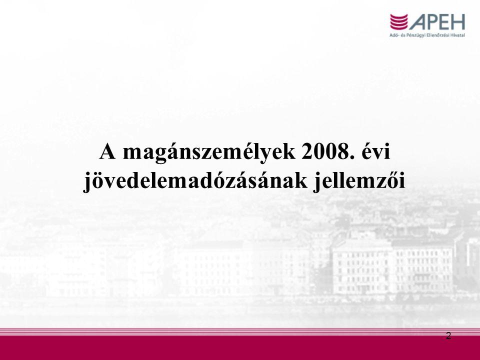 2 A magánszemélyek 2008. évi jövedelemadózásának jellemzői