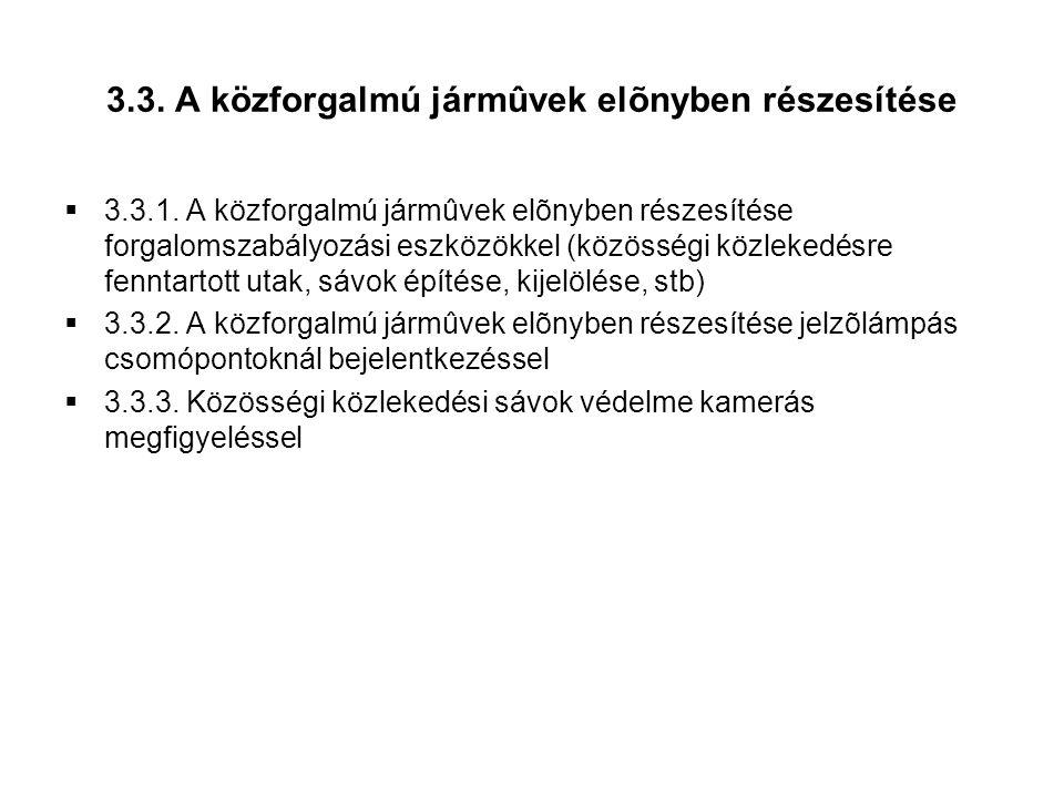 3.3.A közforgalmú jármûvek elõnyben részesítése  3.3.1.