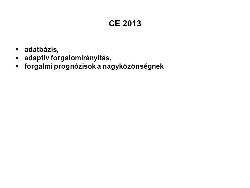 CE 2013  adatbázis,  adaptív forgalomirányítás,  forgalmi prognózisok a nagyközönségnek