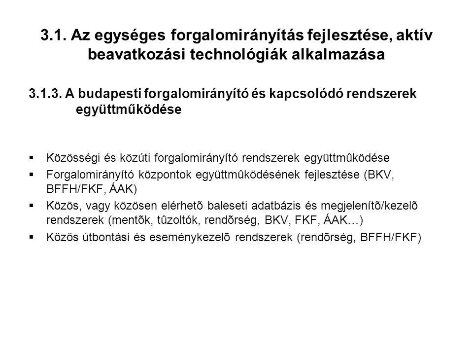 3.1.Az egységes forgalomirányítás fejlesztése, aktív beavatkozási technológiák alkalmazása 3.1.3.