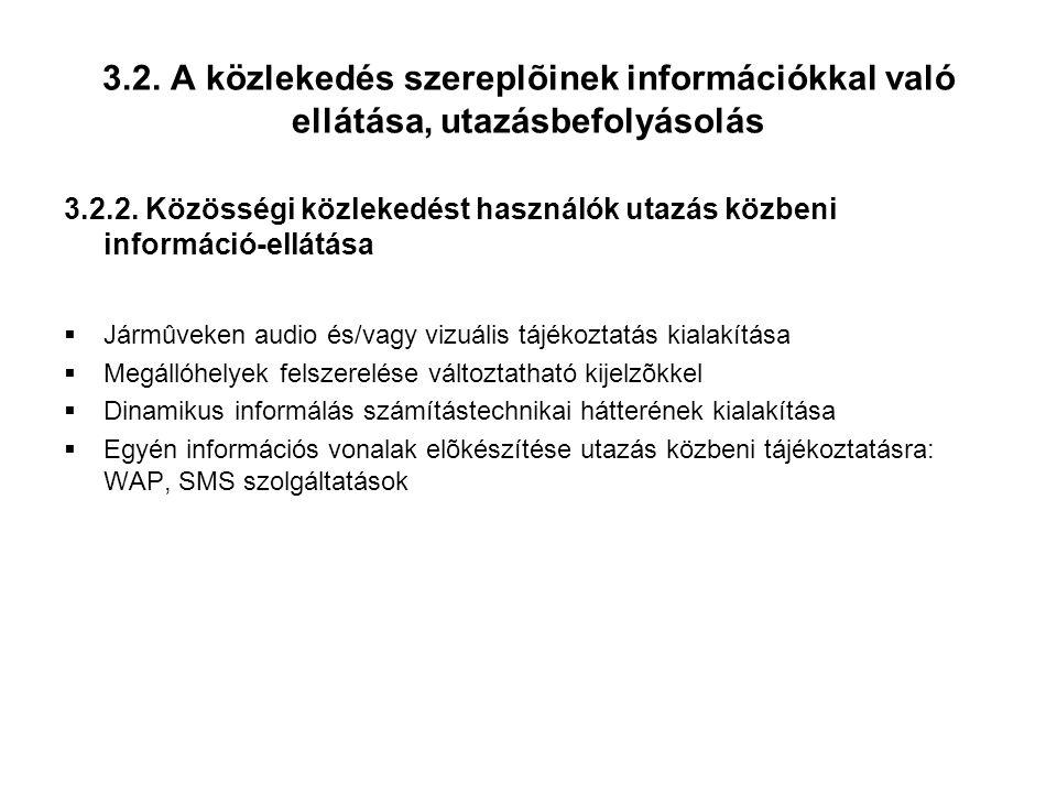 3.2.A közlekedés szereplõinek információkkal való ellátása, utazásbefolyásolás 3.2.2.