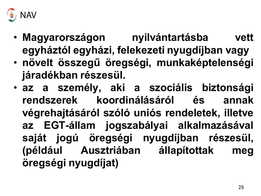 Magyarországon nyilvántartásba vett egyháztól egyházi, felekezeti nyugdíjban vagy növelt összegű öregségi, munkaképtelenségi járadékban részesül. az a