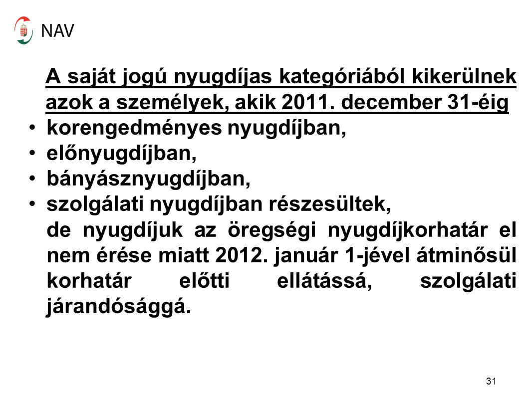 A saját jogú nyugdíjas kategóriából kikerülnek azok a személyek, akik 2011. december 31-éig korengedményes nyugdíjban, előnyugdíjban, bányásznyugdíjba
