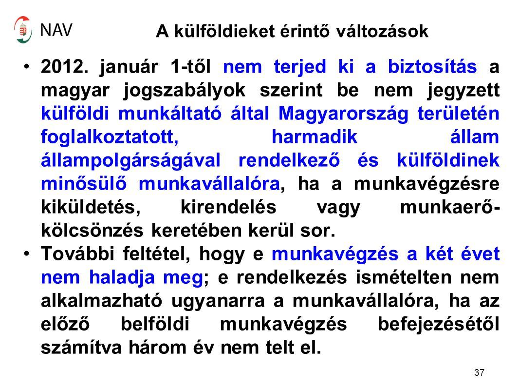 A külföldieket érintő változások 2012. január 1-től nem terjed ki a biztosítás a magyar jogszabályok szerint be nem jegyzett külföldi munkáltató által