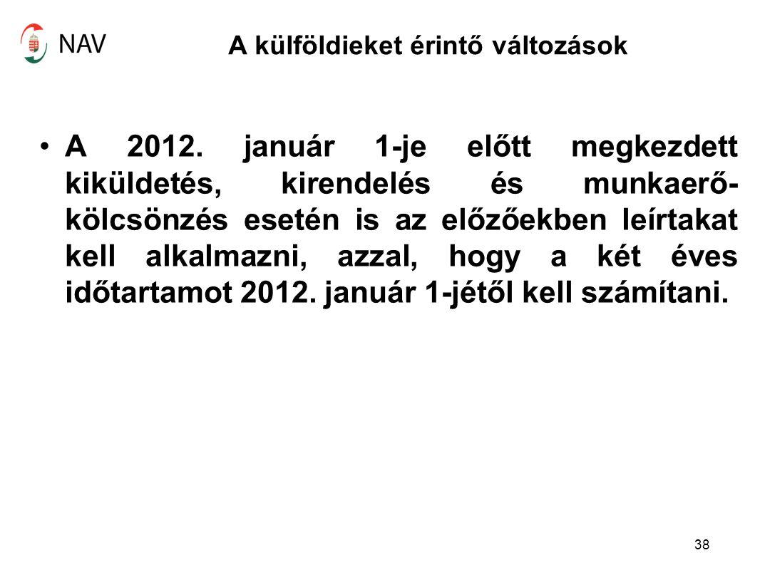 A külföldieket érintő változások A 2012. január 1-je előtt megkezdett kiküldetés, kirendelés és munkaerő- kölcsönzés esetén is az előzőekben leírtakat