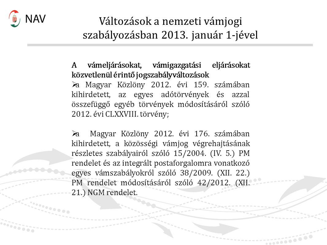 A vámeljárásokat, vámigazgatási eljárásokat közvetlenül érintő jogszabályváltozások  a Magyar Közlöny 2012. évi 159. számában kihirdetett, az egyes a