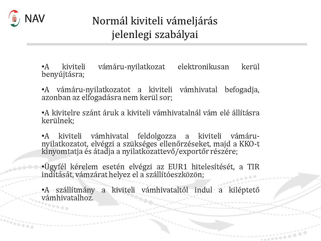Normál kiviteli vámeljárás jelenlegi szabályai A kiviteli vámáru-nyilatkozat elektronikusan kerül benyújtásra; A vámáru-nyilatkozatot a kiviteli vámhi