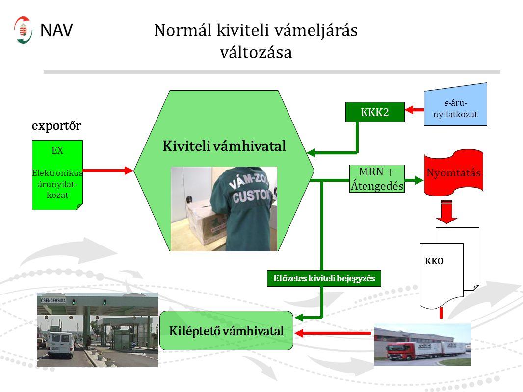 Normál kiviteli vámeljárás változása Kiviteli vámhivatal Előzetes kiviteli bejegyzés Kiléptető vámhivatal KKO KKK2 e-áru- nyilatkozat Nyomtatás MRN +