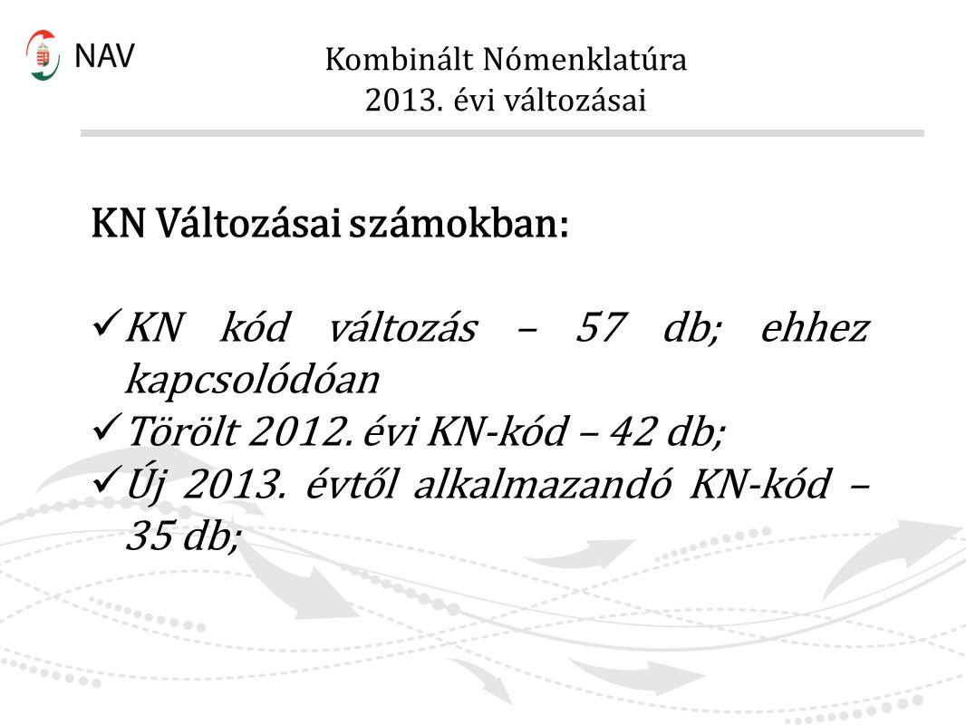 Kombinált Nómenklatúra 2013. évi változásai KN Változásai számokban: KN kód változás – 57 db; ehhez kapcsolódóan Törölt 2012. évi KN-kód – 42 db; Új 2