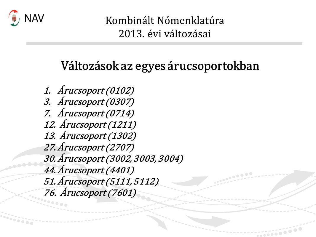 Kombinált Nómenklatúra 2013. évi változásai Változások az egyes árucsoportokban 1.Árucsoport (0102) 3.Árucsoport (0307) 7.Árucsoport (0714) 12. Árucso