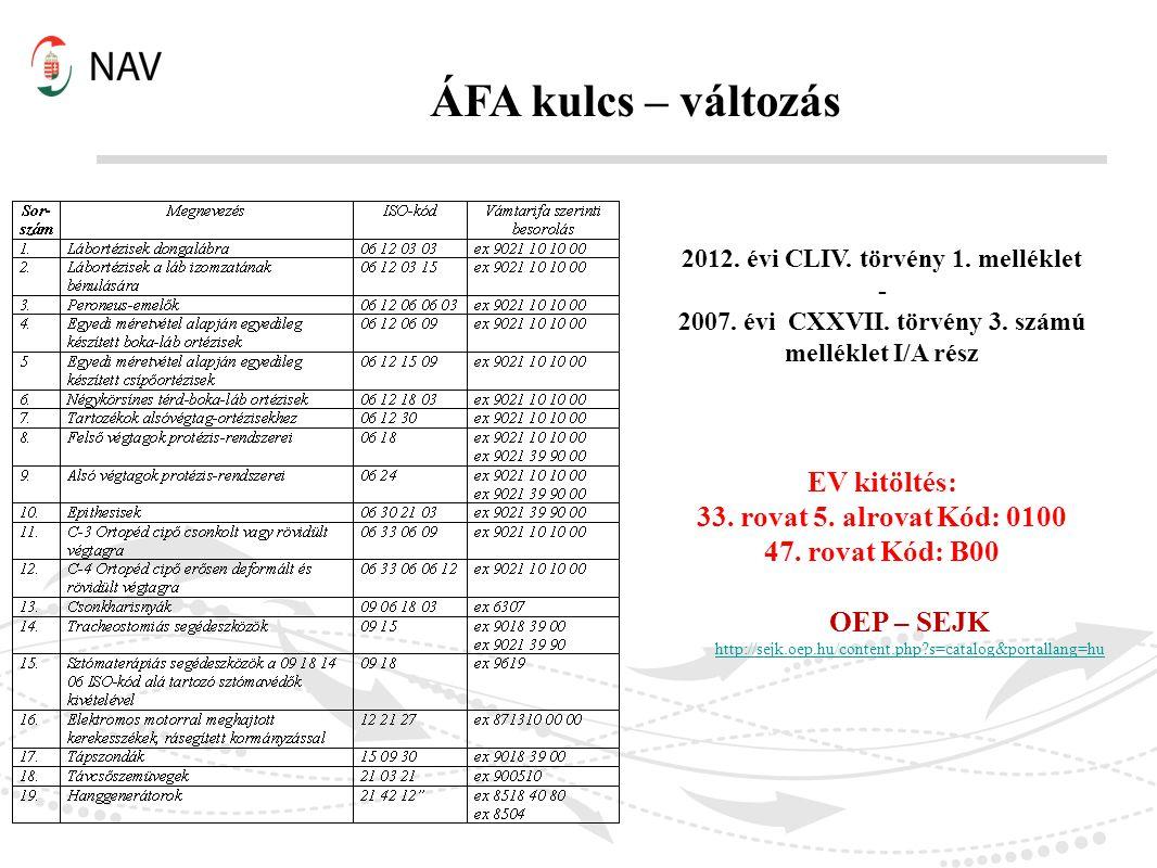 ÁFA kulcs – változás 2012. évi CLIV. törvény 1. melléklet - 2007. évi CXXVII. törvény 3. számú melléklet I/A rész EV kitöltés: 33. rovat 5. alrovat Kó