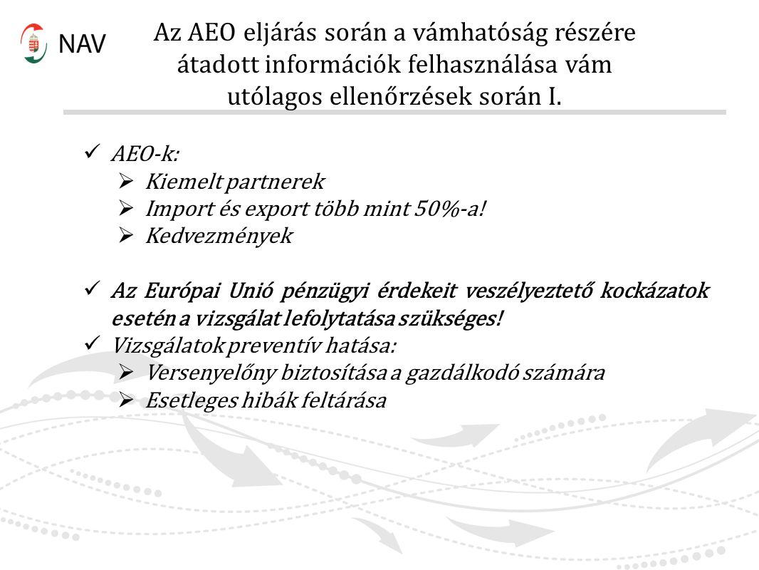 Az AEO eljárás során a vámhatóság részére átadott információk felhasználása vám utólagos ellenőrzések során I. AEO-k:  Kiemelt partnerek  Import és
