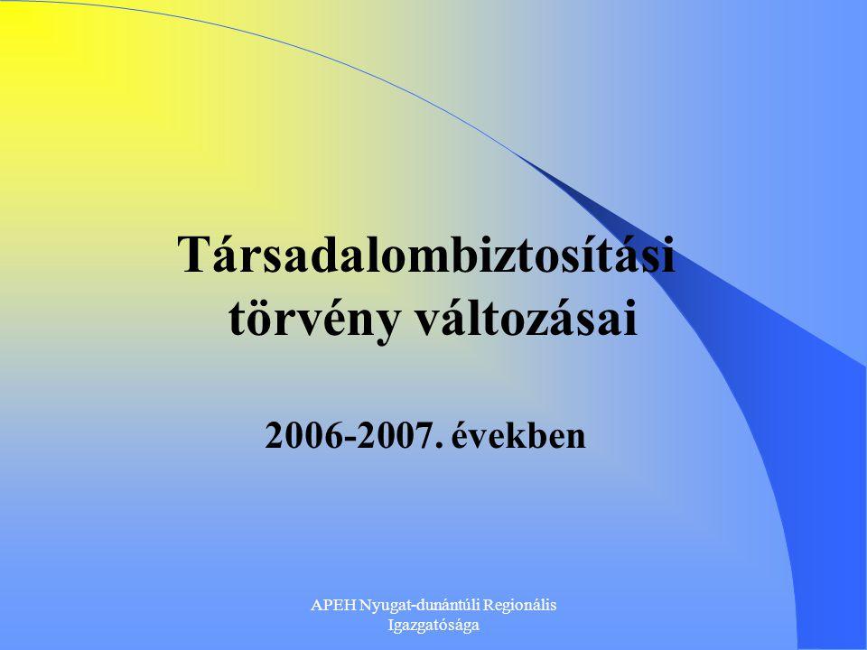 APEH Nyugat-dunántúli Regionális Igazgatósága Jogszabályi környezet 2006.
