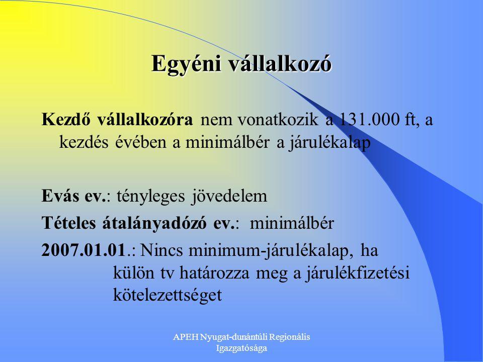 APEH Nyugat-dunántúli Regionális Igazgatósága Társas vállalkozó 2006.07.01.: Új Gt tv.