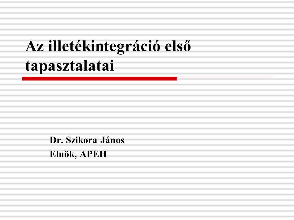 Az illetékintegráció első tapasztalatai Dr. Szikora János Elnök, APEH