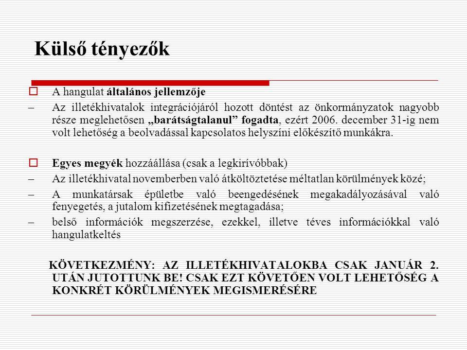 """Külső tényezők  A hangulat általános jellemzője –Az illetékhivatalok integrációjáról hozott döntést az önkormányzatok nagyobb része meglehetősen """"barátságtalanul fogadta, ezért 2006."""