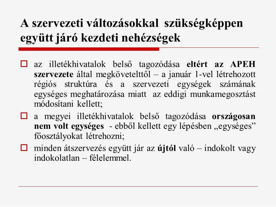 """A szervezeti változásokkal szükségképpen együtt járó kezdeti nehézségek  az illetékhivatalok belső tagozódása eltért az APEH szervezete által megkövetelttől – a január 1-vel létrehozott régiós struktúra és a szervezeti egységek számának egységes meghatározása miatt az eddigi munkamegosztást módosítani kellett;  a megyei illetékhivatalok belső tagozódása országosan nem volt egységes - ebből kellett egy lépésben """"egységes főosztályokat létrehozni;  minden átszervezés együtt jár az újtól való – indokolt vagy indokolatlan – félelemmel."""