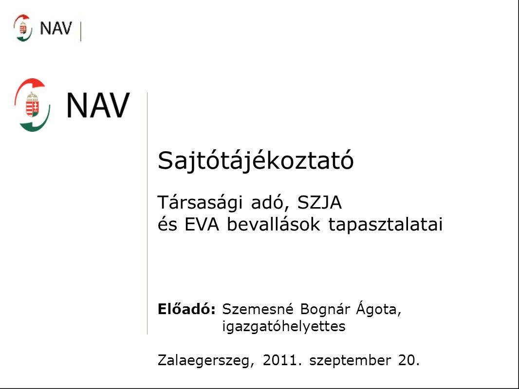 Sajtótájékoztató Társasági adó, SZJA és EVA bevallások tapasztalatai Előadó: Szemesné Bognár Ágota, igazgatóhelyettes Zalaegerszeg, 2011. szeptember 2
