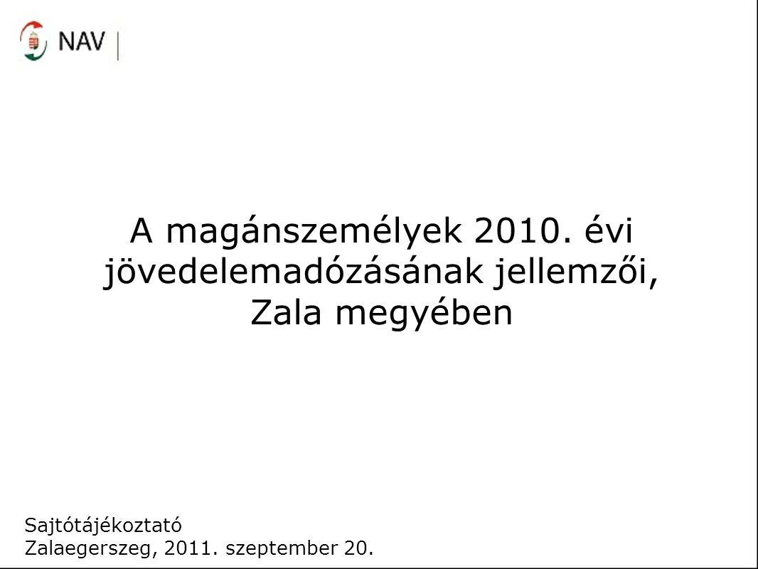 A magánszemélyek 2010. évi jövedelemadózásának jellemzői, Zala megyében Sajtótájékoztató Zalaegerszeg, 2011. szeptember 20.