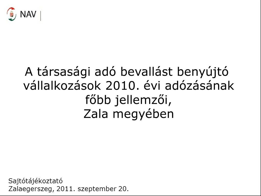 A társasági adó bevallást benyújtó vállalkozások 2010. évi adózásának főbb jellemzői, Zala megyében Sajtótájékoztató Zalaegerszeg, 2011. szeptember 20