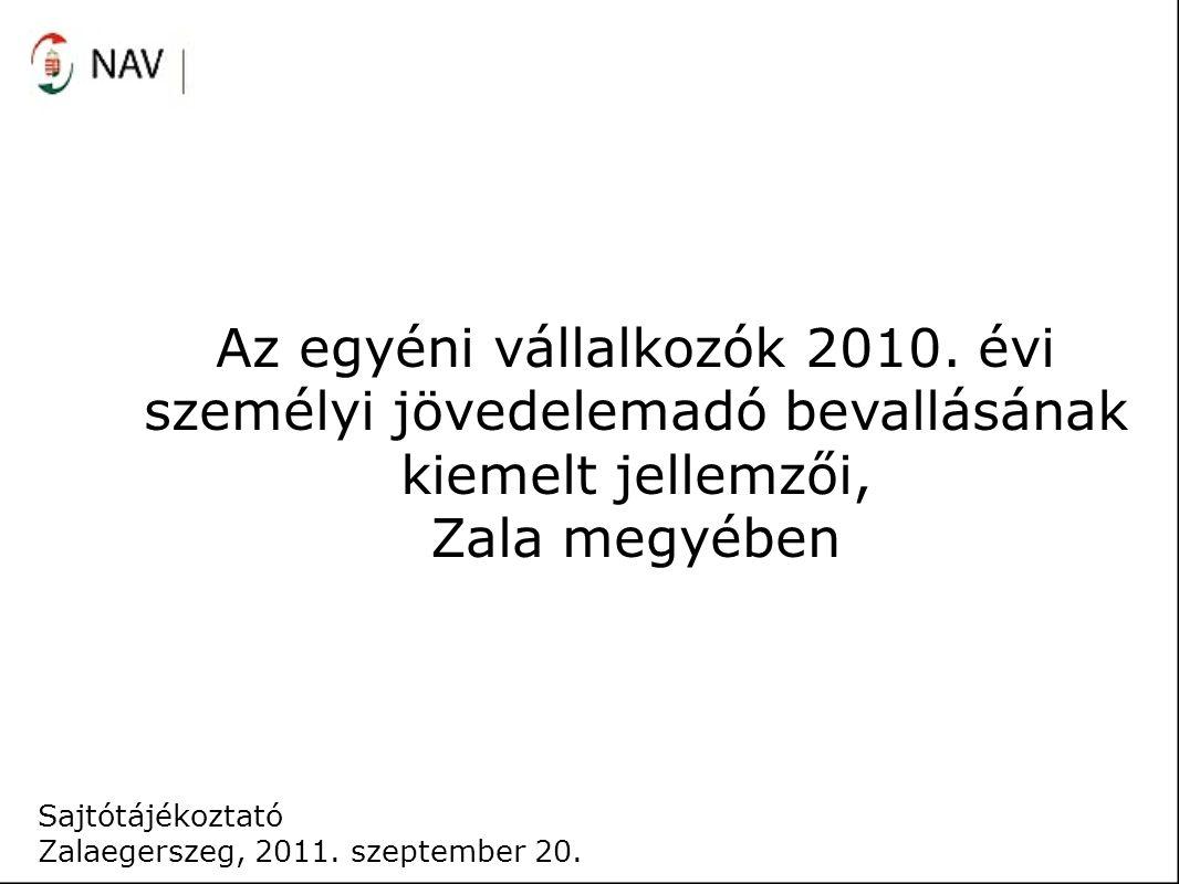 Az egyéni vállalkozók 2010. évi személyi jövedelemadó bevallásának kiemelt jellemzői, Zala megyében Sajtótájékoztató Zalaegerszeg, 2011. szeptember 20