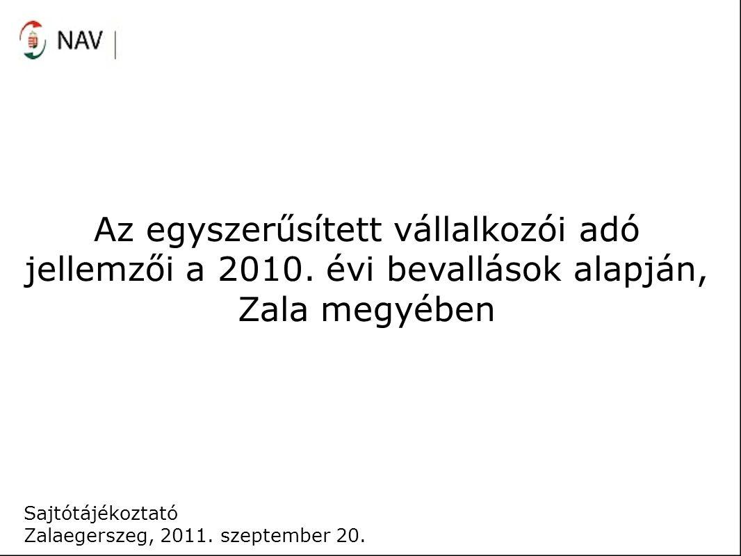 Az egyszerűsített vállalkozói adó jellemzői a 2010. évi bevallások alapján, Zala megyében Sajtótájékoztató Zalaegerszeg, 2011. szeptember 20.