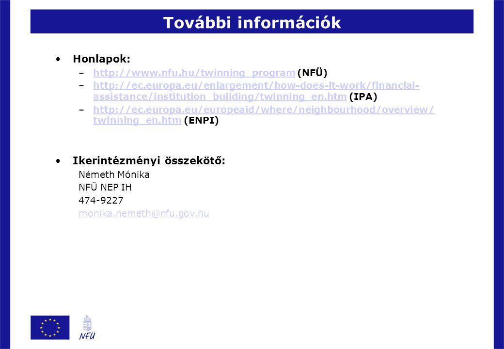 További információk Honlapok: –http://www.nfu.hu/twinning_program (NFÜ)http://www.nfu.hu/twinning_program –http://ec.europa.eu/enlargement/how-does-it
