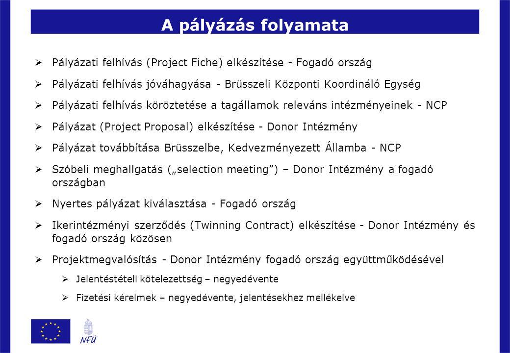 A pályázás folyamata  Pályázati felhívás (Project Fiche) elkészítése - Fogadó ország  Pályázati felhívás jóváhagyása - Brüsszeli Központi Koordináló