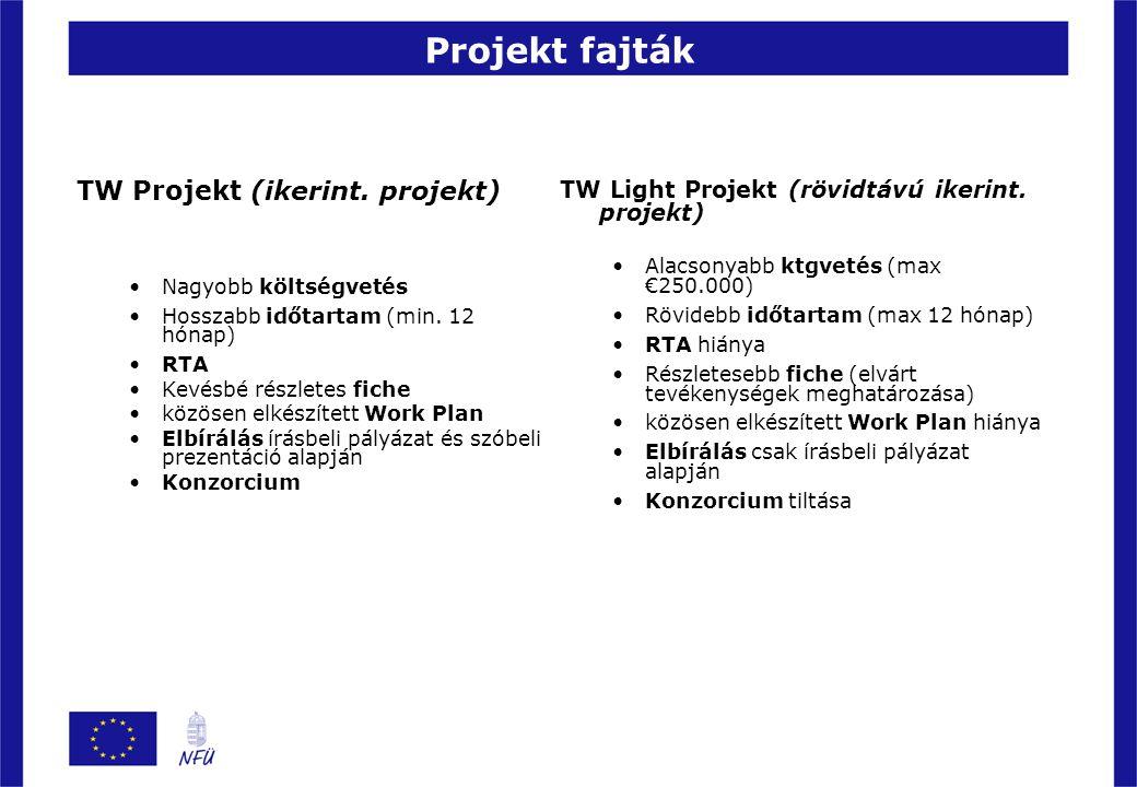 Projekt fajták TW Projekt (ikerint. projekt) Nagyobb költségvetés Hosszabb időtartam (min. 12 hónap) RTA Kevésbé részletes fiche közösen elkészített W