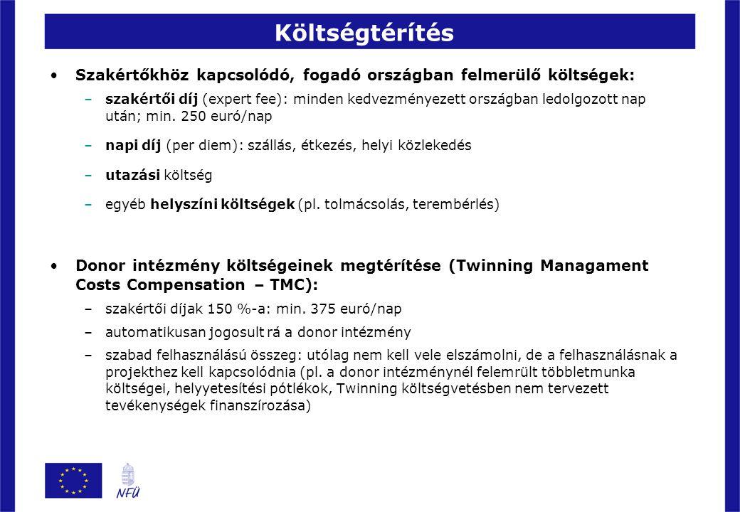 További információk Honlapok: –http://www.nfu.hu/twinning_program (NFÜ)http://www.nfu.hu/twinning_program –http://ec.europa.eu/enlargement/how-does-it-work/financial- assistance/institution_building/twinning_en.htm (IPA)http://ec.europa.eu/enlargement/how-does-it-work/financial- assistance/institution_building/twinning_en.htm –http://ec.europa.eu/europeaid/where/neighbourhood/overview/ twinning_en.htm (ENPI)http://ec.europa.eu/europeaid/where/neighbourhood/overview/ twinning_en.htm Ikerintézményi összekötő: Németh Mónika NFÜ NEP IH 474-9227 monika.nemeth@nfu.gov.hu