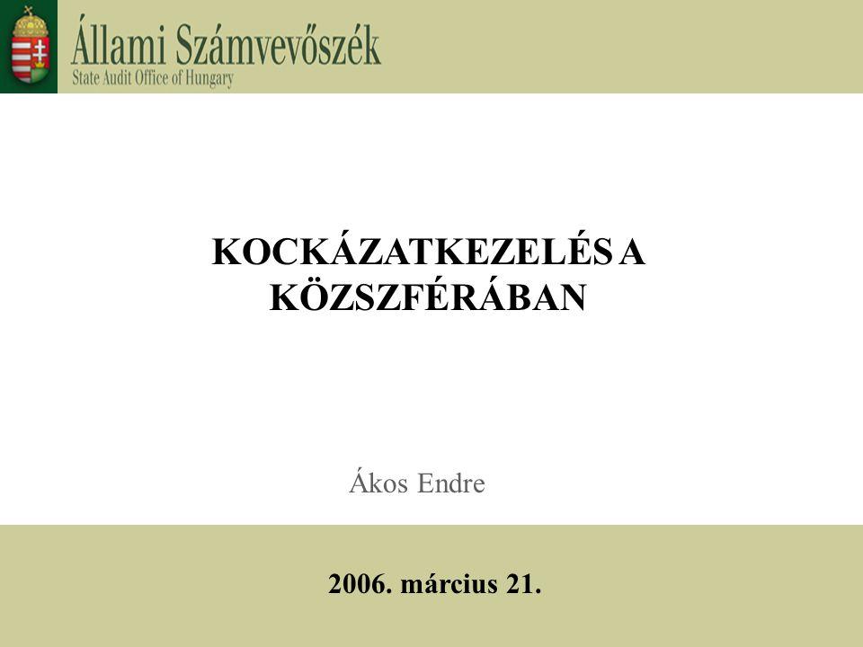 KOCKÁZATKEZELÉS A KÖZSZFÉRÁBAN Ákos Endre 2006. március 21.
