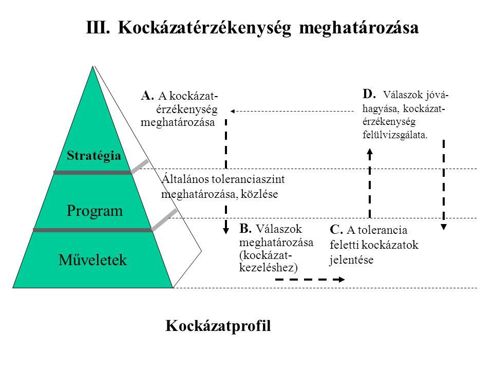 III. Kockázatérzékenység meghatározása Stratégia Program Műveletek A. A kockázat- érzékenység meghatározása B. Válaszok meghatározása (kockázat- kezel