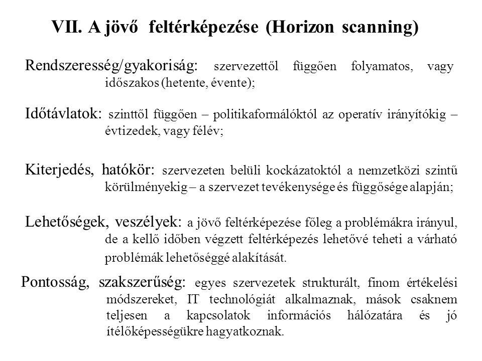 VII. A jövő feltérképezése (Horizon scanning) Rendszeresség/gyakoriság: szervezettől függően folyamatos, vagy időszakos (hetente, évente); Időtávlatok