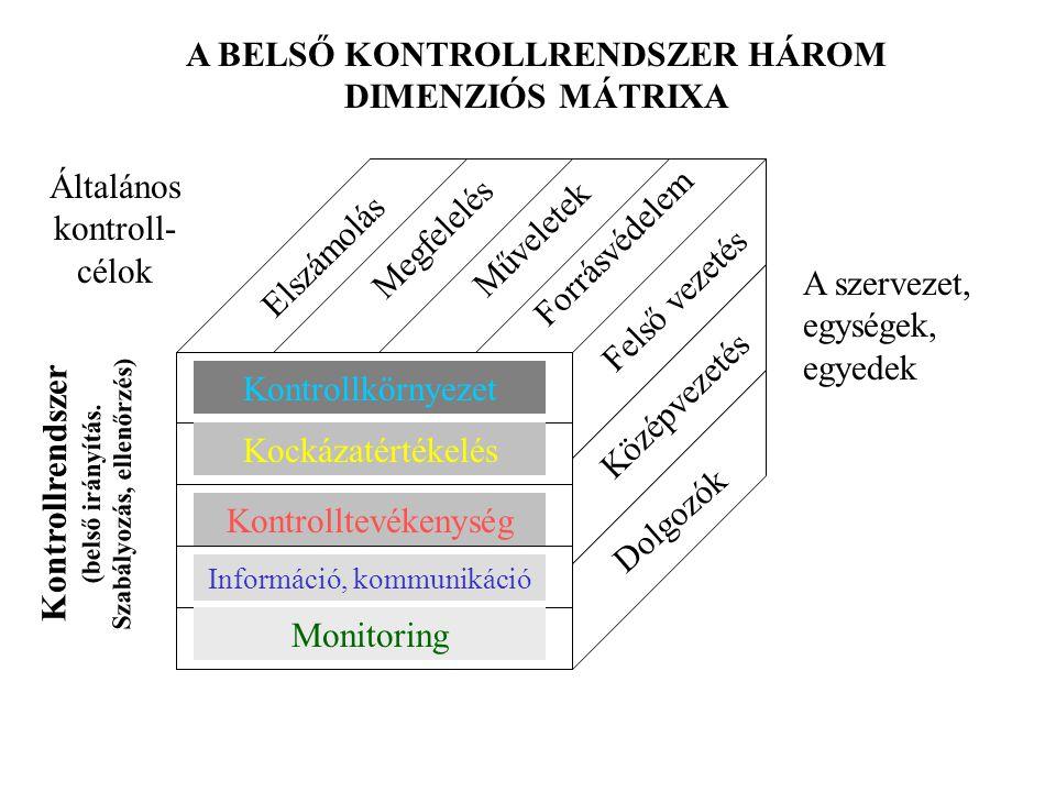 Dolgozók Középvezetés Felső vezetés A szervezet, egységek, egyedek Elszámolás Megfelelés Műveletek Forrásvédelem Általános kontroll- célok Kontrollkör