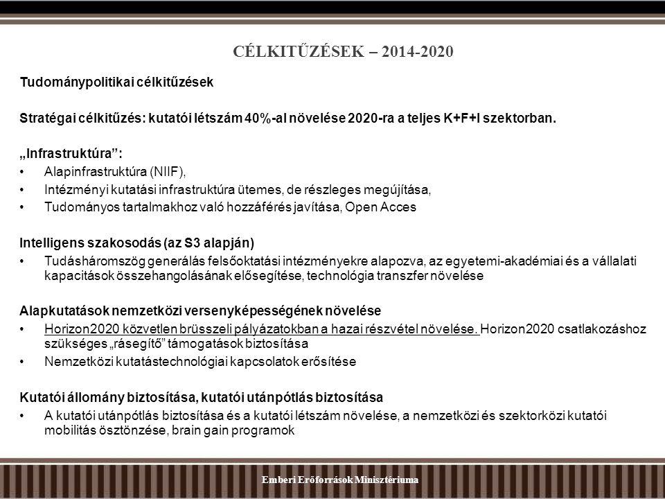 """CÉLKITŰZÉSEK – 2014-2020 Tudománypolitikai célkitűzések Stratégai célkitűzés: kutatói létszám 40%-al növelése 2020-ra a teljes K+F+I szektorban. """"Infr"""