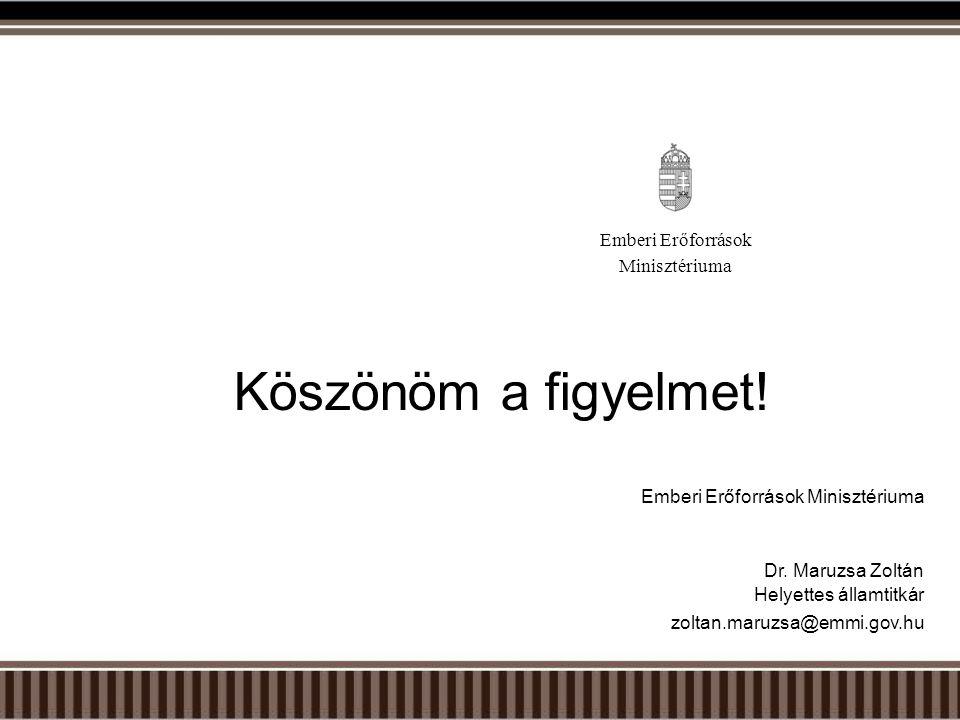Köszönöm a figyelmet! Emberi Erőforrások Minisztériuma Dr. Maruzsa Zoltán Helyettes államtitkár zoltan.maruzsa@emmi.gov.hu Emberi Erőforrások Miniszté