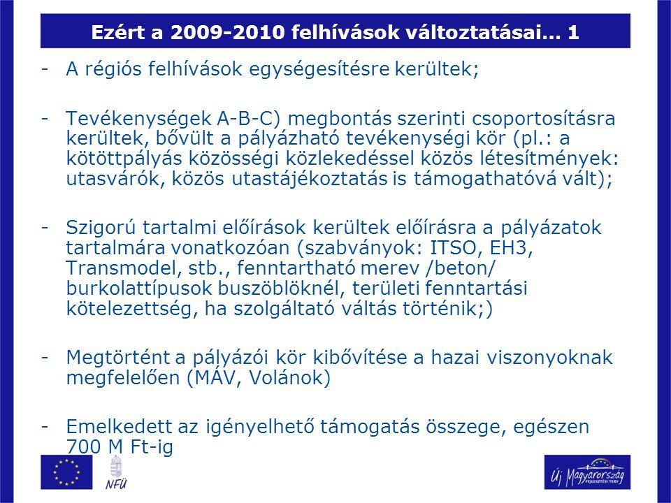 Ezért a 2009-2010 felhívások változtatásai… 1 -A régiós felhívások egységesítésre kerültek; -Tevékenységek A-B-C) megbontás szerinti csoportosításra kerültek, bővült a pályázható tevékenységi kör (pl.: a kötöttpályás közösségi közlekedéssel közös létesítmények: utasvárók, közös utastájékoztatás is támogathatóvá vált); -Szigorú tartalmi előírások kerültek előírásra a pályázatok tartalmára vonatkozóan (szabványok: ITSO, EH3, Transmodel, stb., fenntartható merev /beton/ burkolattípusok buszöblöknél, területi fenntartási kötelezettség, ha szolgáltató váltás történik;) -Megtörtént a pályázói kör kibővítése a hazai viszonyoknak megfelelően (MÁV, Volánok) -Emelkedett az igényelhető támogatás összege, egészen 700 M Ft-ig
