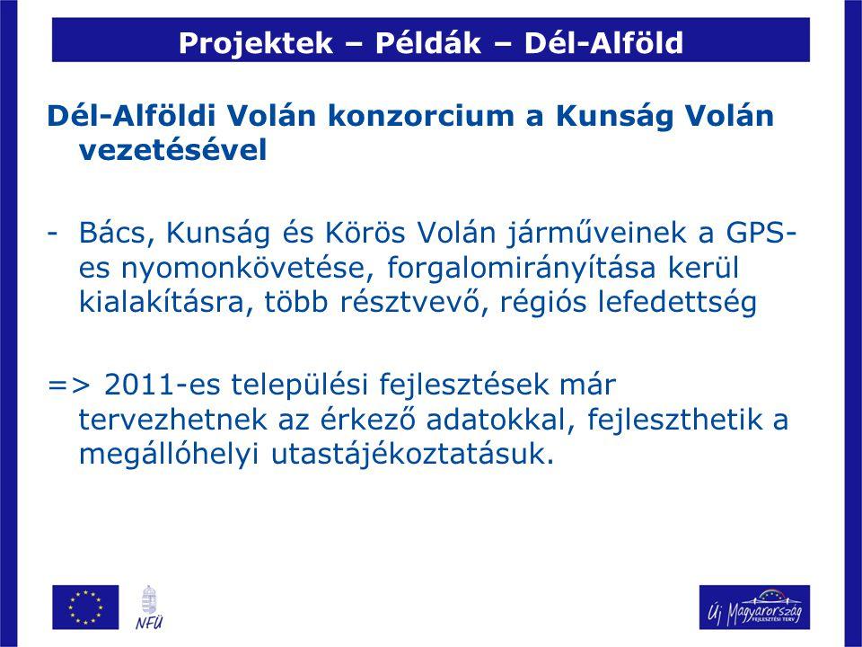 Projektek – Példák – Dél-Alföld Dél-Alföldi Volán konzorcium a Kunság Volán vezetésével -Bács, Kunság és Körös Volán járműveinek a GPS- es nyomonkövetése, forgalomirányítása kerül kialakításra, több résztvevő, régiós lefedettség => 2011-es települési fejlesztések már tervezhetnek az érkező adatokkal, fejleszthetik a megállóhelyi utastájékoztatásuk.