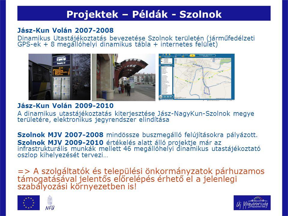 Projektek – Példák - Szolnok Jász-Kun Volán 2007-2008 Dinamikus Utastájékoztatás bevezetése Szolnok területén (járműfedélzeti GPS-ek + 8 megállóhelyi dinamikus tábla + internetes felület) Jász-Kun Volán 2009-2010 A dinamikus utastájékoztatás kiterjesztése Jász-NagyKun-Szolnok megye területére, elektronikus jegyrendszer elindítása Szolnok MJV 2007-2008 mindössze buszmegálló felújításokra pályázott.