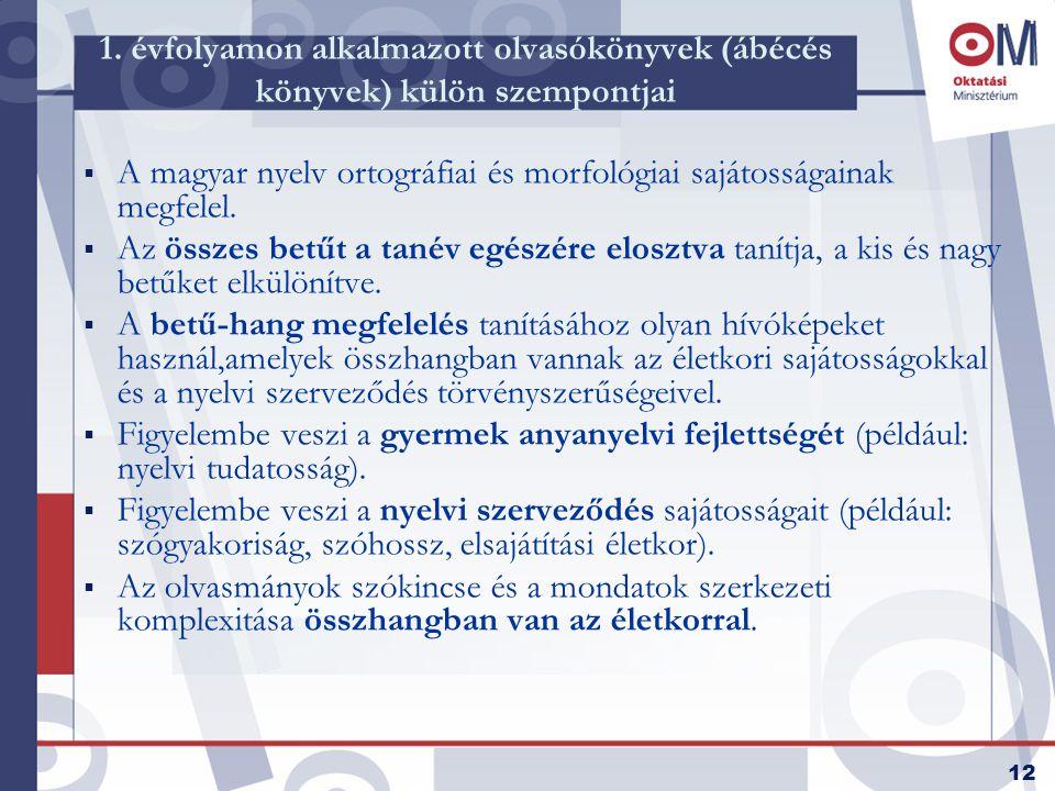 12 1. évfolyamon alkalmazott olvasókönyvek (ábécés könyvek) külön szempontjai  A magyar nyelv ortográfiai és morfológiai sajátosságainak megfelel. 