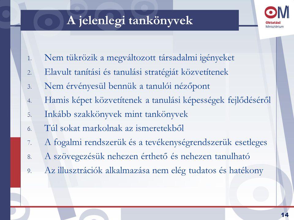 14 A jelenlegi tankönyvek 1. Nem tükrözik a megváltozott társadalmi igényeket 2.
