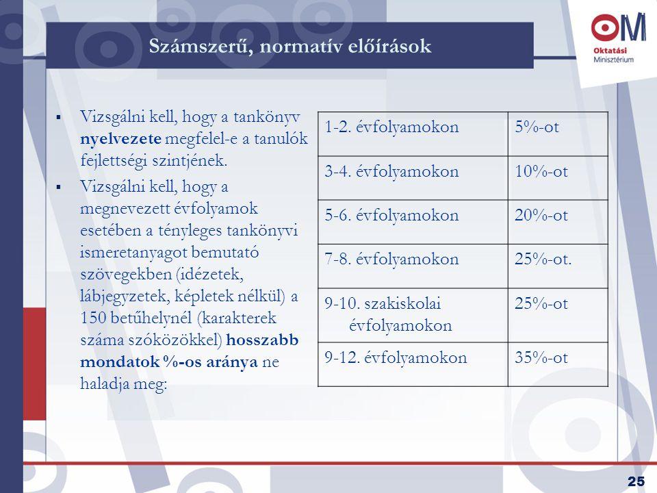 25 Számszerű, normatív előírások  Vizsgálni kell, hogy a tankönyv nyelvezete megfelel-e a tanulók fejlettségi szintjének.