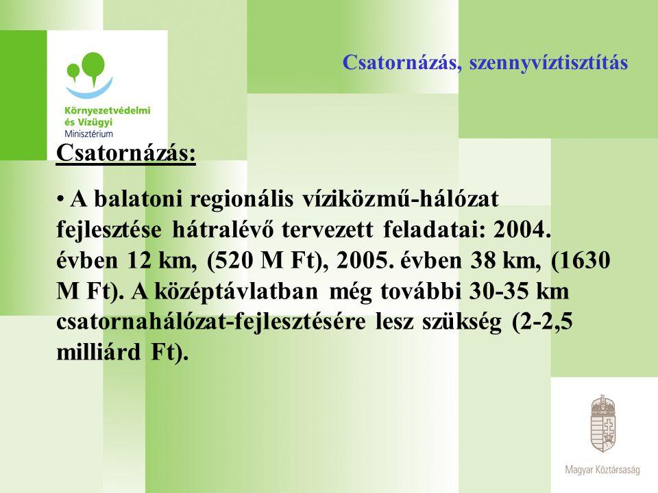 Csatornázás, szennyvíztisztítás Csatornázás: A balatoni regionális víziközmű-hálózat fejlesztése hátralévő tervezett feladatai: 2004. évben 12 km, (52