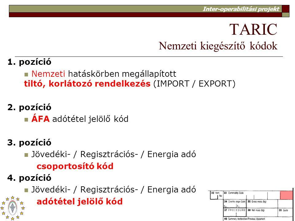 Inter-operabilitási projekt 12 TARIC Nemzeti kiegészítő kódok 1. pozíció Nemzeti hatáskörben megállapított tiltó, korlátozó rendelkezés (IMPORT / EXPO