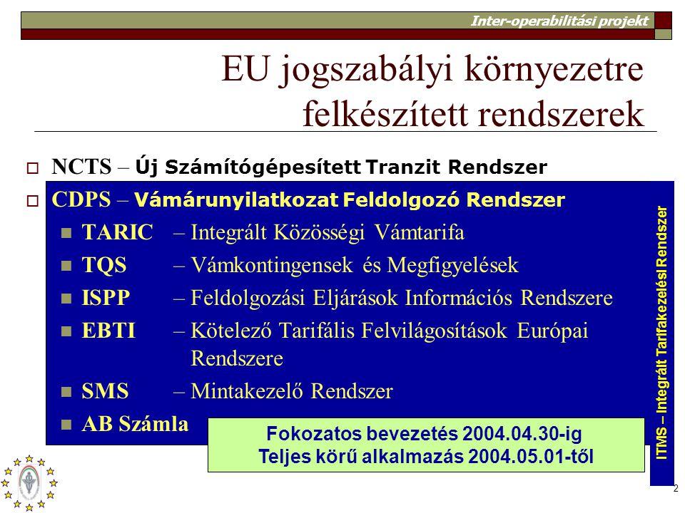 Inter-operabilitási projekt 2 EU jogszabályi környezetre felkészített rendszerek  NCTS – Új Számítógépesített Tranzit Rendszer  CDPS – Vámárunyilatk