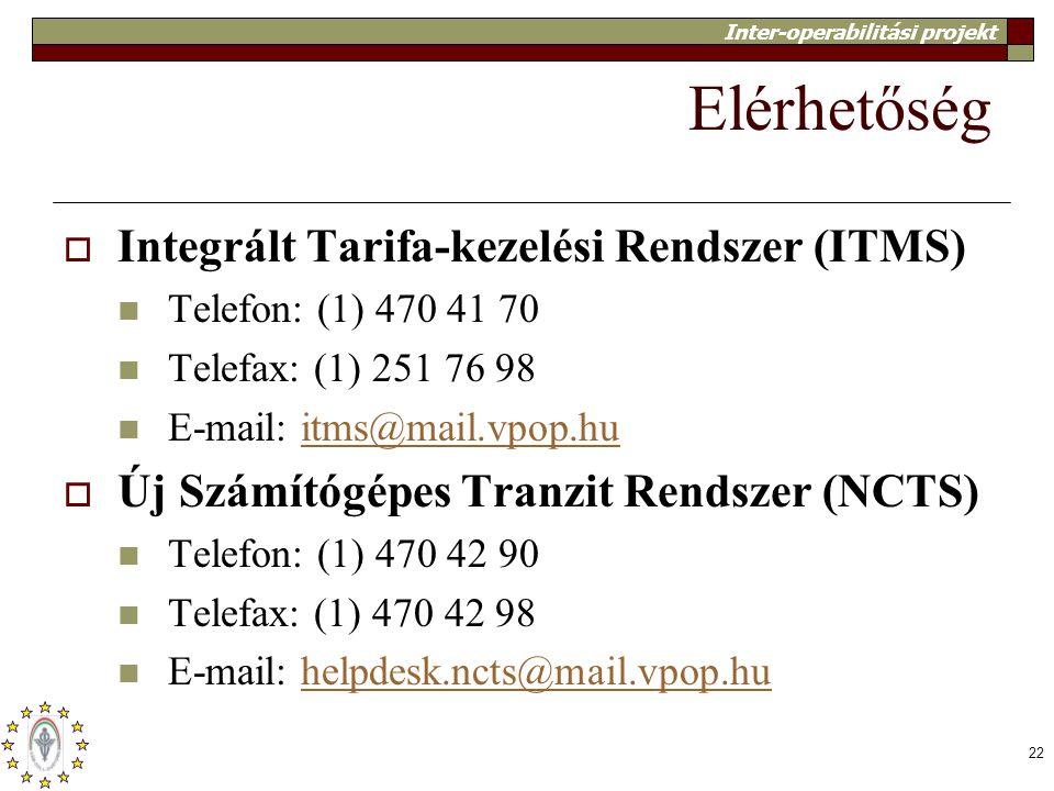 Inter-operabilitási projekt 22 Elérhetőség  Integrált Tarifa-kezelési Rendszer (ITMS) Telefon: (1) 470 41 70 Telefax: (1) 251 76 98 E-mail: itms@mail