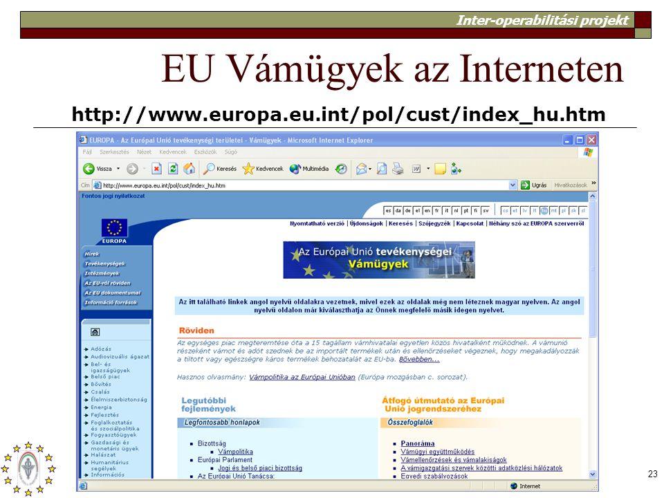 Inter-operabilitási projekt 23 EU Vámügyek az Interneten http://www.europa.eu.int/pol/cust/index_hu.htm
